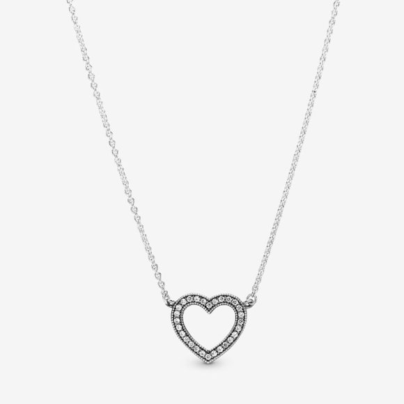 Pandora Jewelry - Loving Hearts of Pandora Necklace with Clear CZ
